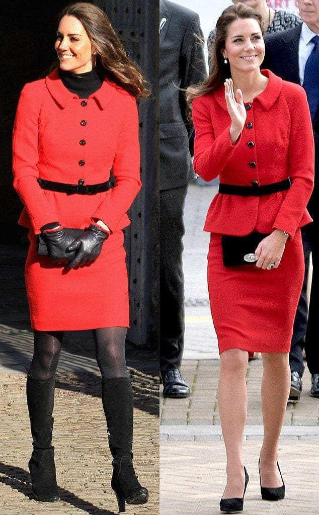 Kate-Middleton-Red-Suit.ms_.041414-634x1024 20 Times Kate Middleton Recycled Her Wardrobe