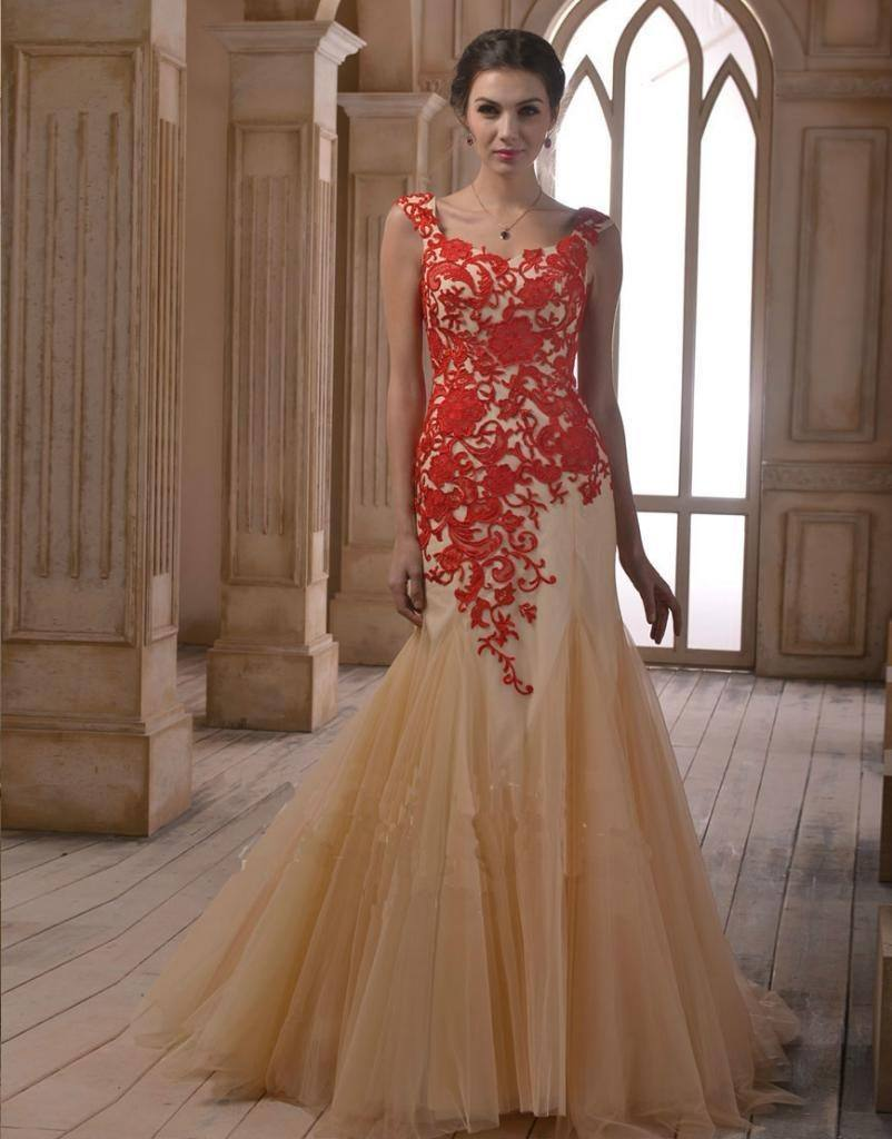 New-Elie-Saab-Dresses-For-Sale-Designer-Nude-Applique-Short-Sleeve-Red-Lace-Tulle-Long-Evening-802x1024 Latest Bridal Gowns - 20 Most Perfect Bridal Gowns this Year