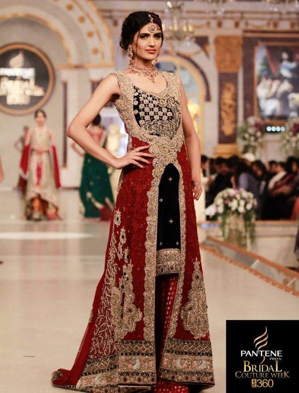 Shazia-Kiyani-Bridal-Dresses-At-Bridal-Couture-Week-2013-Lahore-009 Bridal Dupatta Settings–17 New Ways to Drape Dupatta for A Wedding