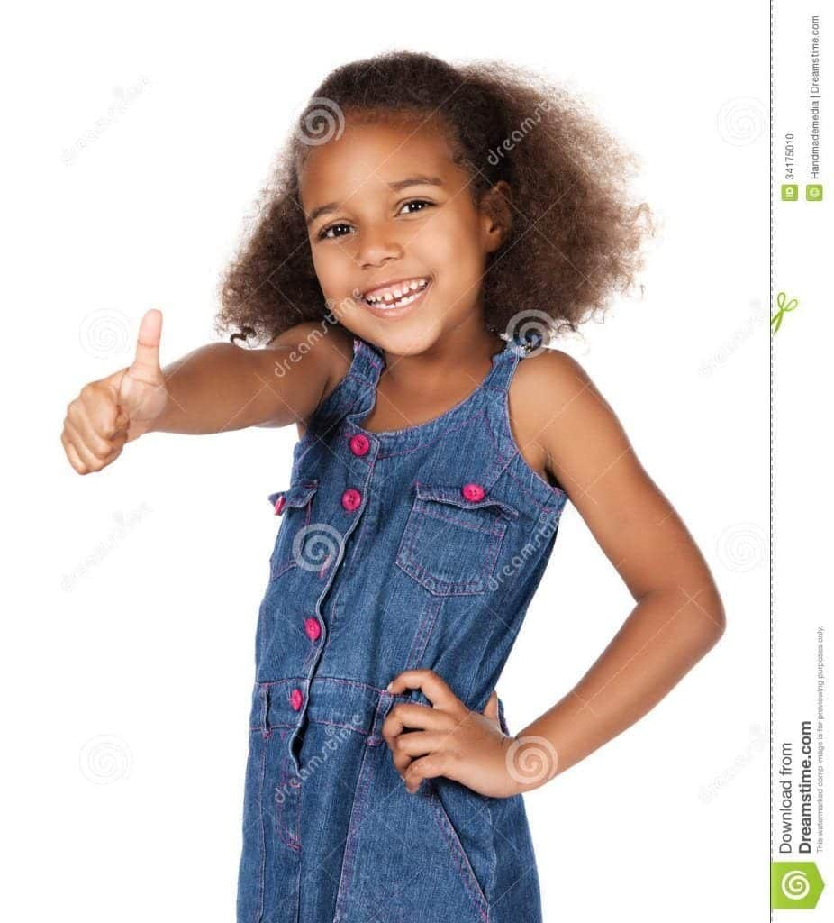 cute-african-girl-adorable-child-afro-hair-wearing-denim-dress-showing-thumbs-up-to-camera-34175010-926x1024 50 Cutest Pictures of African Girls of All Ages