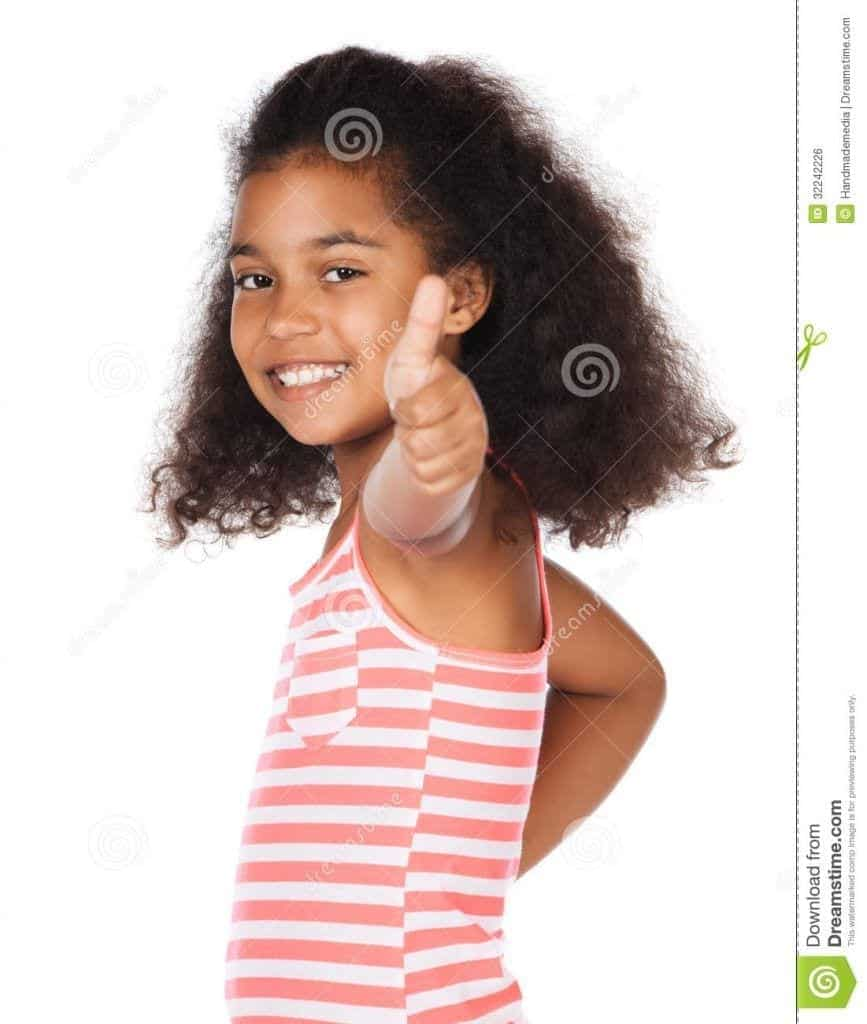 cute-african-girl-adorable-child-afro-hair-wearing-white-pink-striped-dress-showing-thumbs-up-to-camera-32242226-867x1024 50 Cutest Pictures of African Girls of All Ages