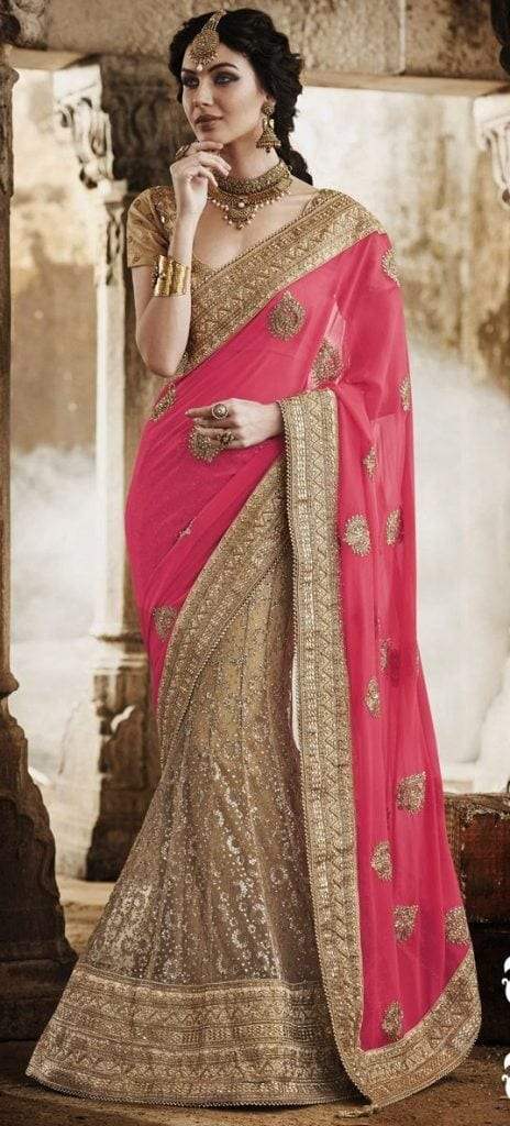 heavy-saree-464x1024 Latest Bridesmaid Saree Designs-20 New Styles to try in 2016