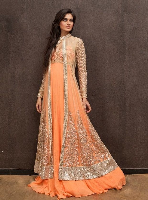 jacket-gown 30 Latest Indian Bridal Gown Styles and Designs to Try this Year