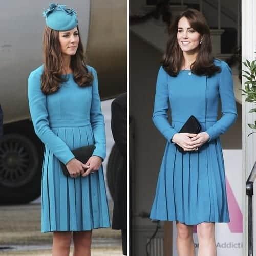 kate-middleton-blue-dress 20 Times Kate Middleton Recycled Her Wardrobe