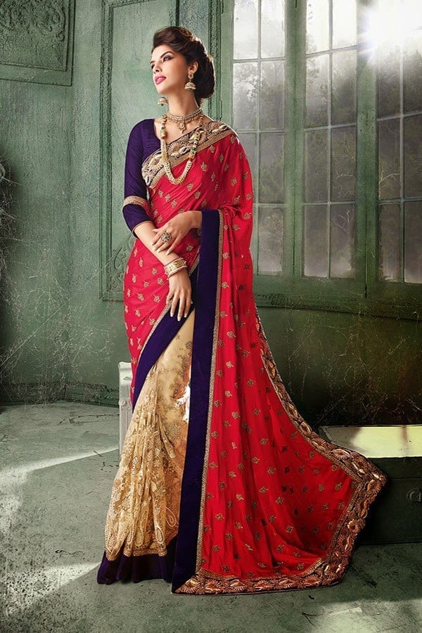pink-and-blue-glory Latest Bridesmaid Saree Designs-20 New Styles to try in 2016