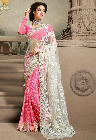 pink-and-white Latest Bridesmaid Saree Designs-20 New Styles to try in 2016