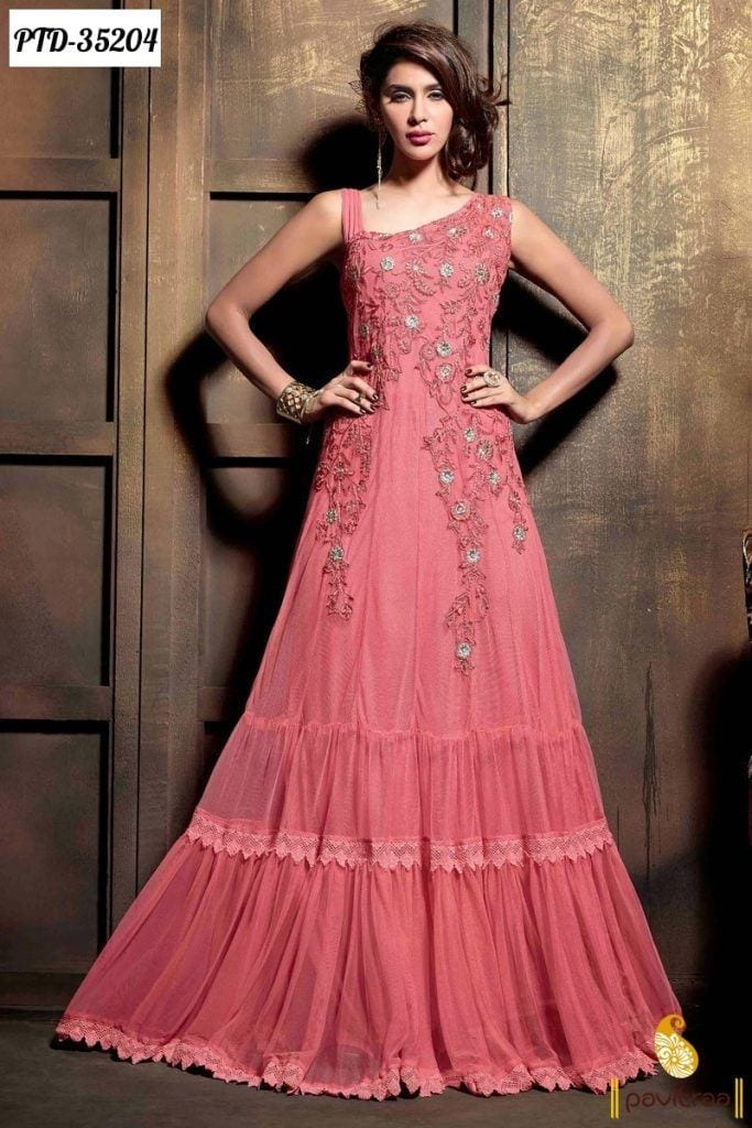 pink net bridal salwar suit 683x1024 - Western Style Dresses For Wedding Guests