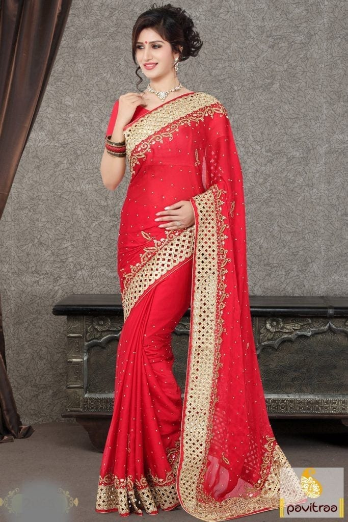 red-color-chinno-padding-engagement-saree-online-shopping-PRS-68000-1-683x1024 Latest Bridesmaid Saree Designs-20 New Styles to try in 2016