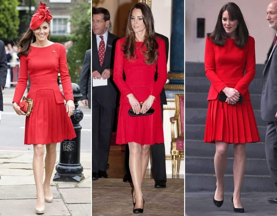 red-dress 20 Times Kate Middleton Recycled Her Wardrobe