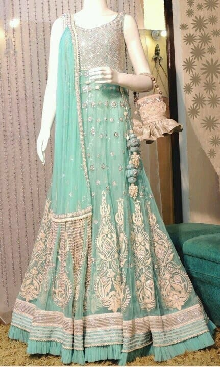 seafoam-gown 30 Latest Indian Bridal Gown Styles and Designs to Try this Year