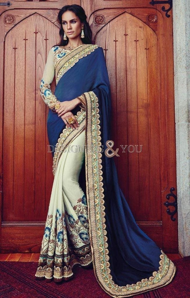 south-indian-wedding-saree-blouse-designs-of-floral-embroidery-and-broad-border-VDKRI1204-2-652x1024 23 Latest South Indian Wedding Sarees To Try This Year