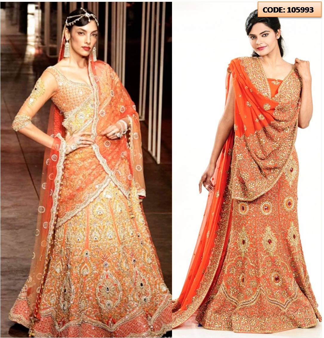 tarun-orange-lhnga 20 Latest Bridal Lehenga Designs and Ideas to try this year