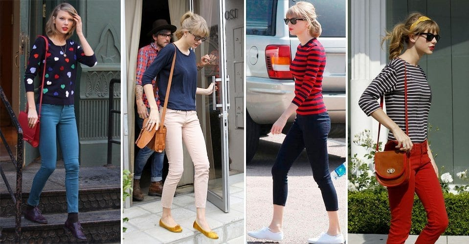 taylor-swift-colored-denim-pants-outfit 25 Cute Outfits for Skinny Girls-Ideas What to Wear being Skinny