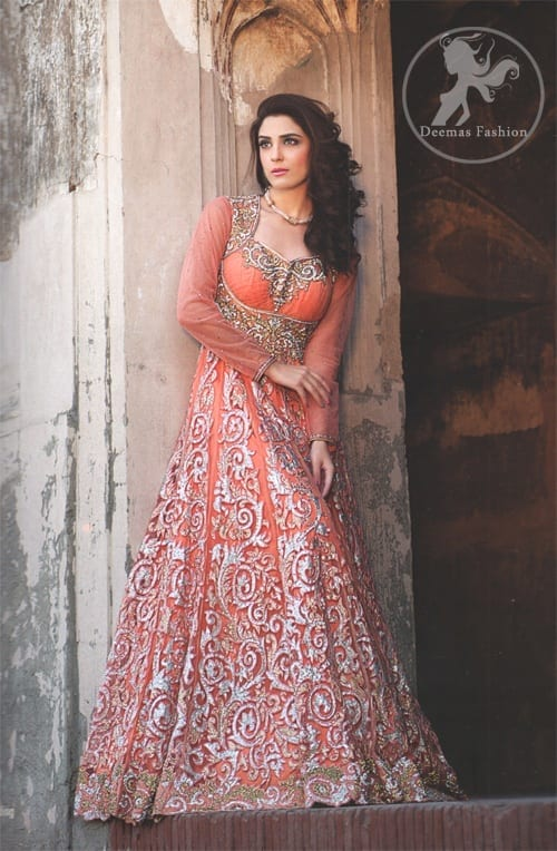 Orange-Peach-Fully-Embroidered-Maxi Indian Bridesmaid Dresses-24 Latest Dresses Designs for Bridesmaids