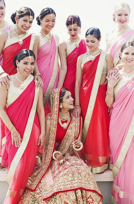 indian-bridesmaid-saree Indian Bridesmaid Dresses-24 Latest Dresses Designs for Bridesmaids