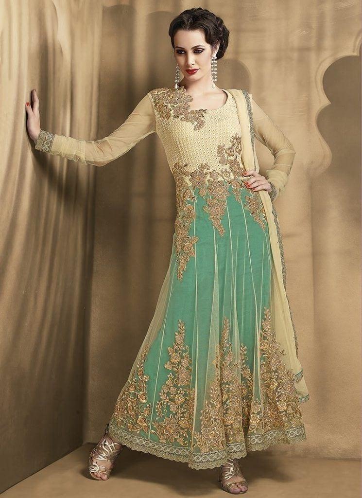2-fancy-Beige-Net-Long-Anarkali-bridal-kameez-for-women-745x1024 Latest Frock Designs-20 New Frock Styles Collection for Women 2017