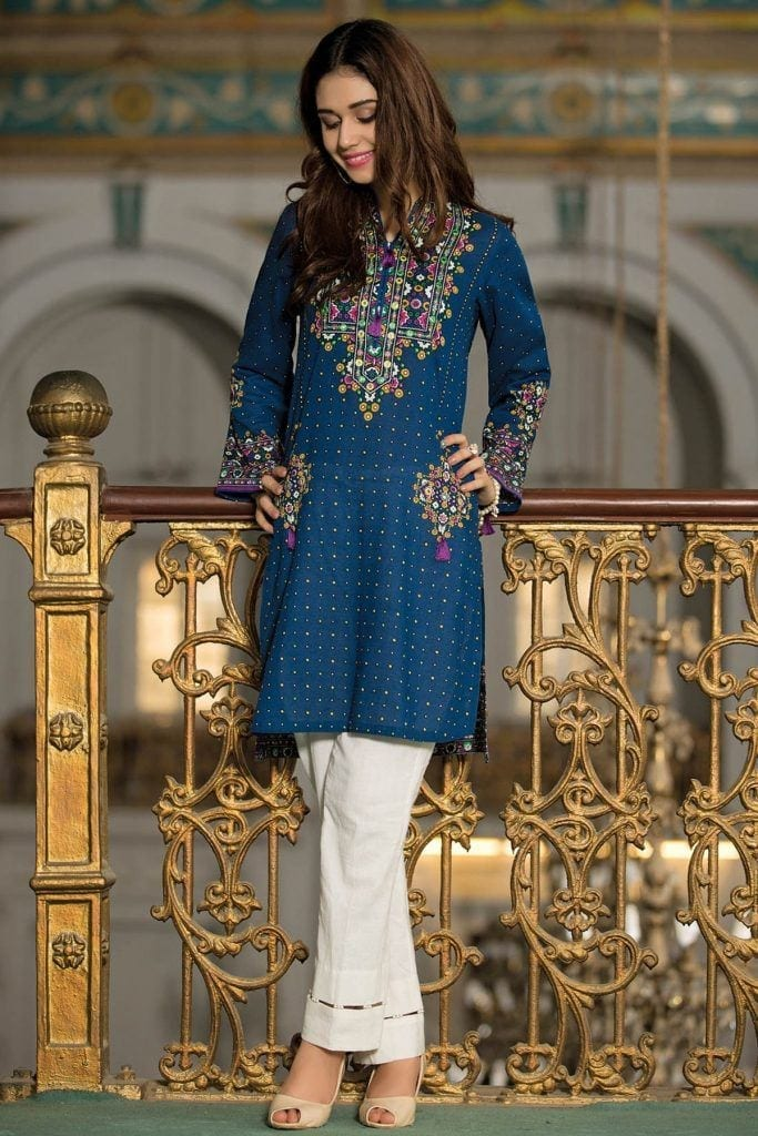 Kyseria-Blue-style-Kurti-683x1024 Winter Kurtis Designs – 18 Latest Kurti Styles for Women