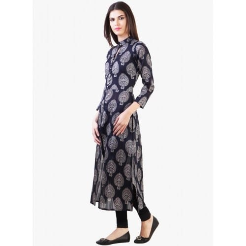 navy-blue-printed-front-open-slit-kurta Winter Kurtis Designs – 18 Latest Kurti Styles for Women