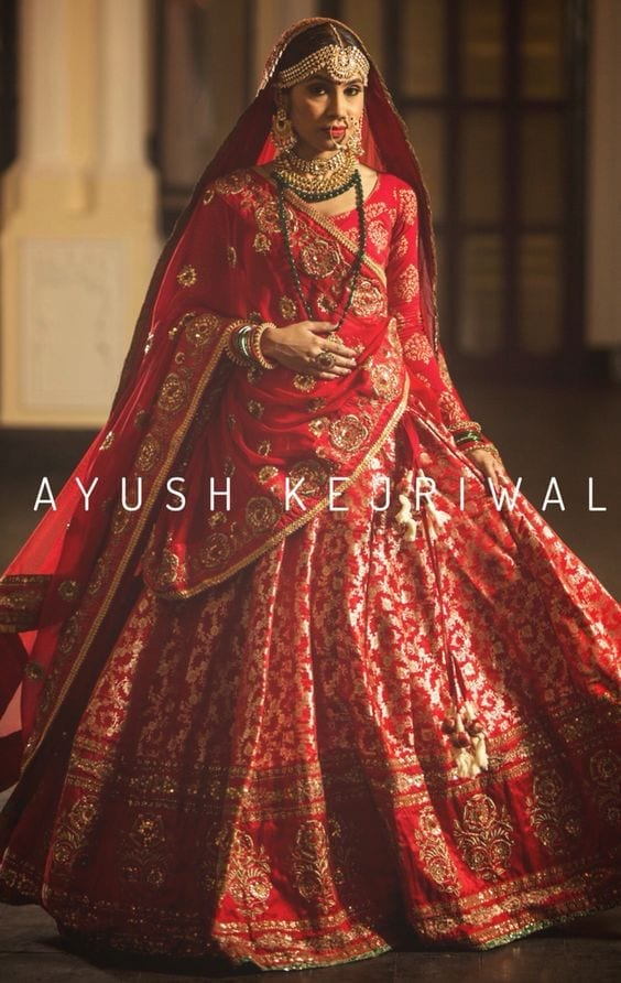 Red-Bridal-lehenga 2017 Ghagracholi Designs-20 Latest Lehngacholi Styles These Days