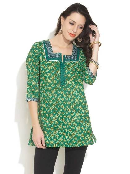 aurelia-ethnic-lush-kurti Kurti Neck Designs–23 Latest Kurti neck styles 2017