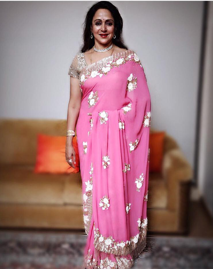 hema-malini-wearing-manish-malhotra-saree Latest Manish Malhotra Sarees 2017 Collection-Top 28 Sarees by Manish