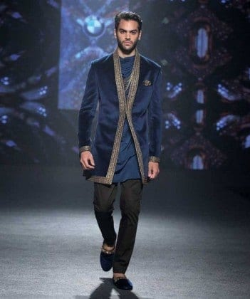 indian-men-traditional-wedding-marriage-wear-outfit-dress-clothing-shantanu-nikhil-navy-blue-jacket-351x420 Engagement Outfits for Indian Men-20 Latest Ideas what to Wear on Engagement