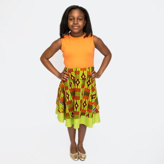kente-printed-dresses African Dress Styles for Kids-19 Cute African Attire for Babies