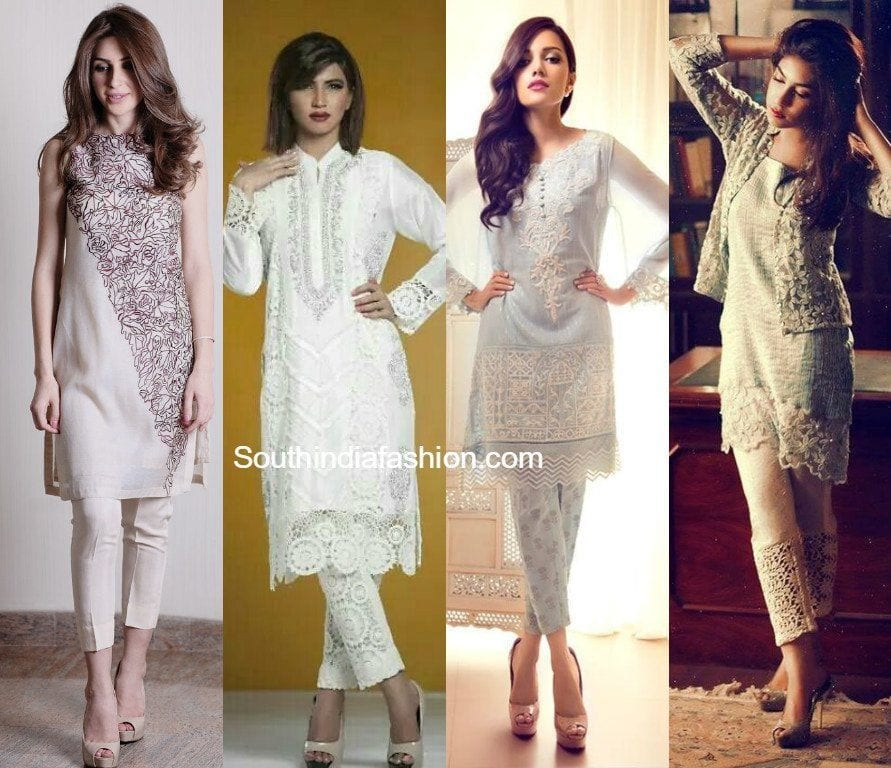kurtis_with_short_cigarette_pants Latest kurti designs 2017 from top 15 kurti designers these days