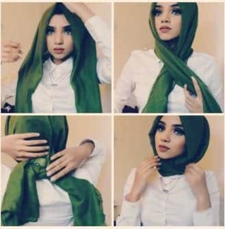 Hijab-Tutorial-Without-Pins Hijab Without Cap-Tutorials on How to Wear Hijab Without Undercap