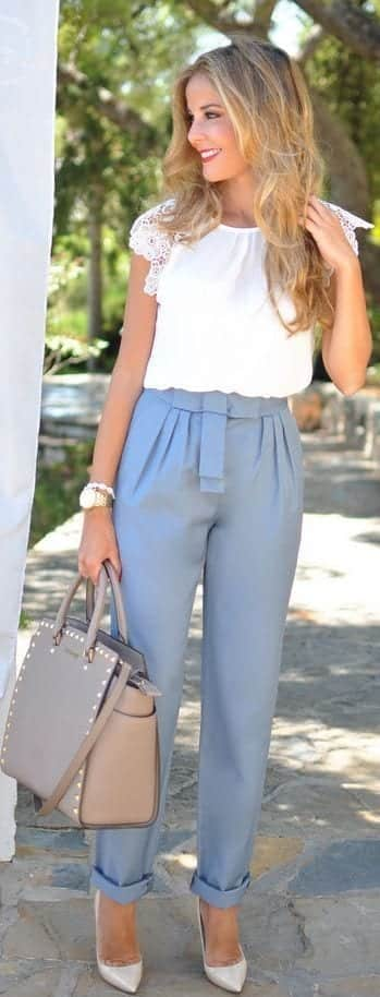 white-shirt-and-blue-pants Church Outfits Ideas for Teenagers-17 Ways to Dress for Church