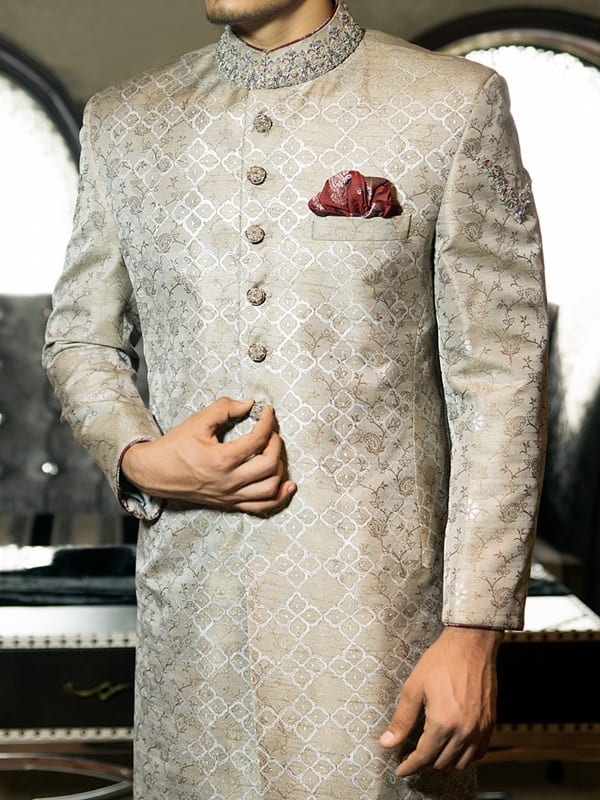 Beautiful-Sherwani-in-Gray-Shade Wedding Sherwani Outfits - 20 Best Sherwani Ideas for Grooms
