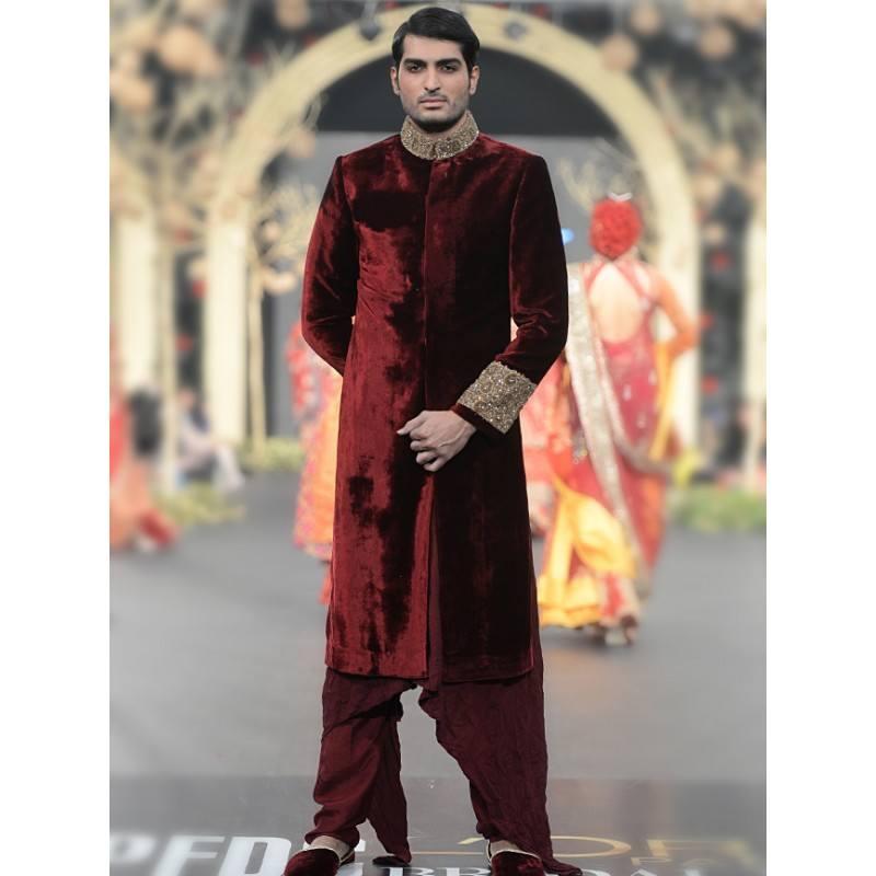 Classic-Maroon-Sherwani Wedding Sherwani Outfits - 20 Best Sherwani Ideas for Grooms