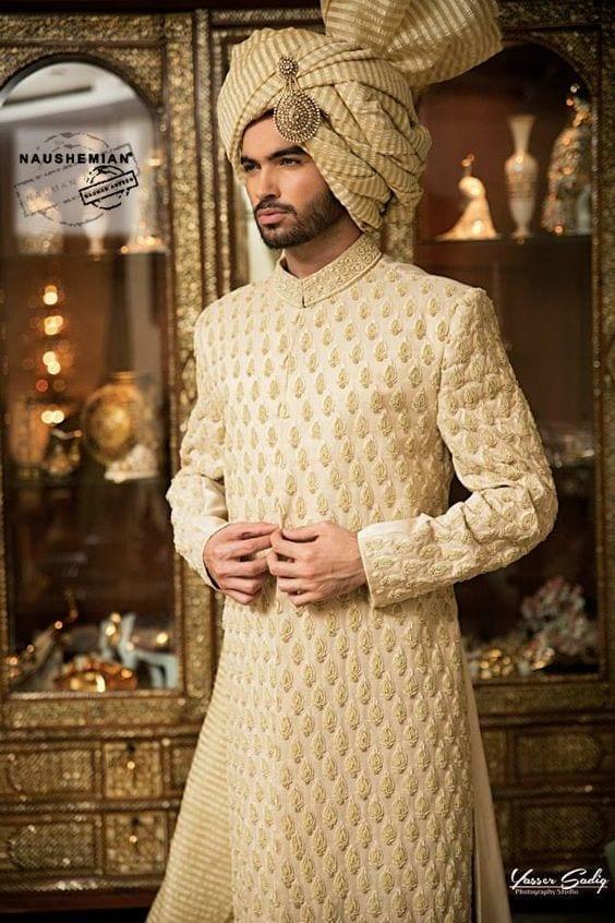 Elegant-Sherwani-in-Dull-Gold Wedding Sherwani Outfits - 20 Best Sherwani Ideas for Grooms