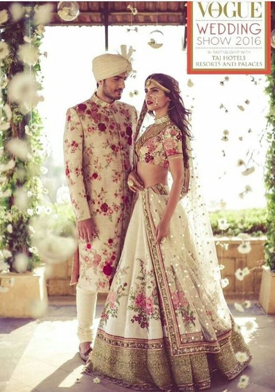 Floral-Sherwani-in-Off-White Wedding Sherwani Outfits - 20 Best Sherwani Ideas for Grooms