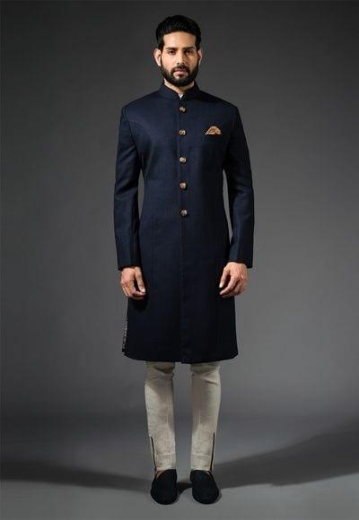 Indian-Style-Navy-Blue-Sherwani Wedding Sherwani Outfits - 20 Best Sherwani Ideas for Grooms