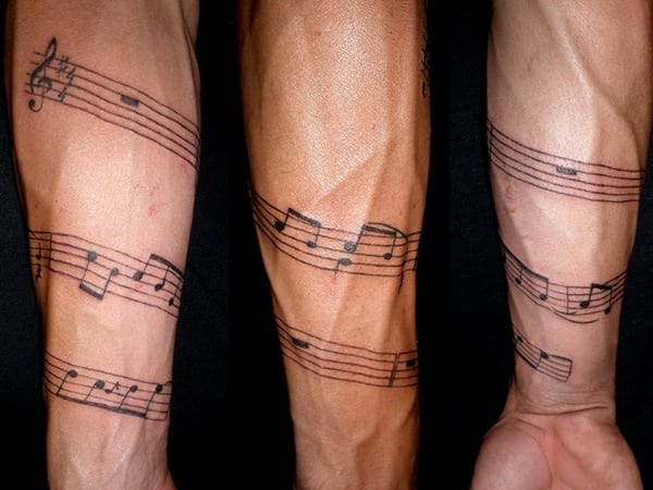 Musical-Tattoos Skinny Guys with Tattoos-18 Best Tattoo Designs for Slim Guys