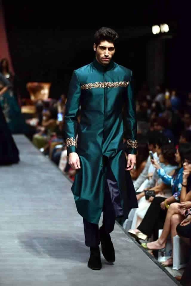 Turquoise-Green-Long-Sherwani Wedding Sherwani Outfits - 20 Best Sherwani Ideas for Grooms
