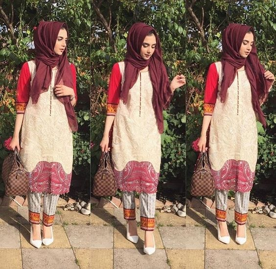 10-hijab-with-casual-suit 30 Ways to Wear Hijab with Indian Ethnic Wear
