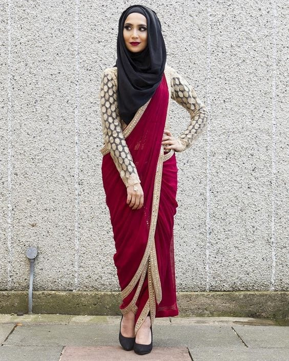 29-Hijab-with-Dhoti-Saree 30 Ways to Wear Hijab with Indian Ethnic Wear