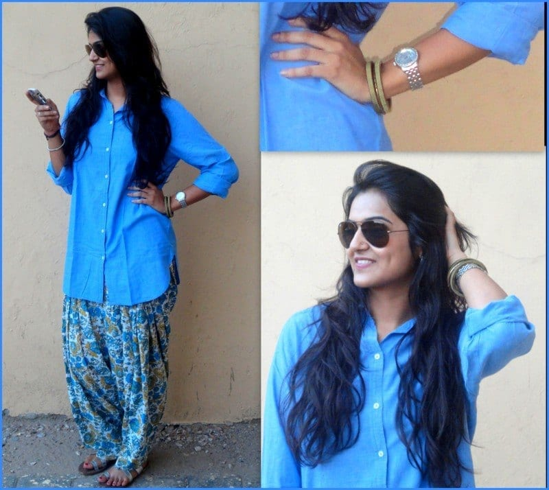 Button-Down-Shirt-Style Classy Patiala Outfits-30 Amazing Ways to Wear Patiala Salwar