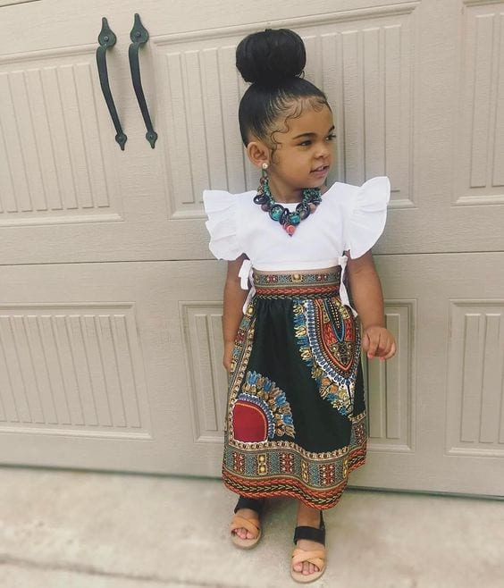 Dashiki-Skirts-for-Girls Cute African Outfits- 20 Modern African Outfits for Children