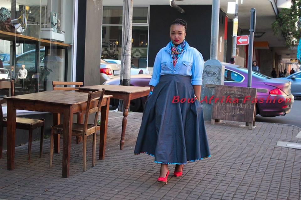 Denim-Street-Style-Bow-African-Dress Bow Afrika Clothes- Top 30 Chic Bow Afrika Outfits for Women