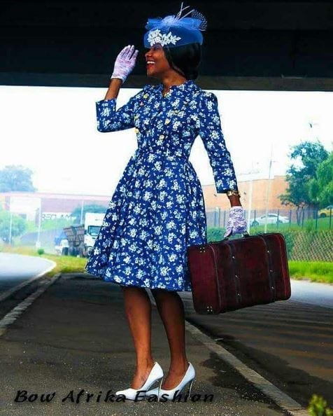 Floral-Dress-in-Royal-Blue Bow Afrika Clothes- Top 30 Chic Bow Afrika Outfits for Women