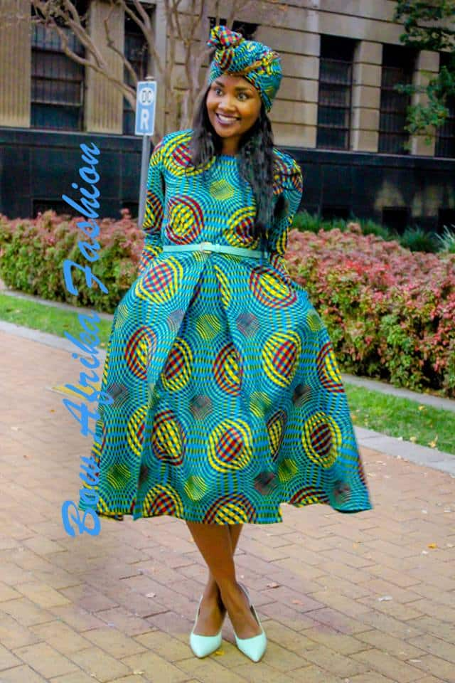 Frock-with-a-Gele Bow Afrika Clothes- Top 30 Chic Bow Afrika Outfits for Women