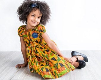 Kente-Prints-for-Baby-Girls Cute African Outfits- 20 Modern African Outfits for Children