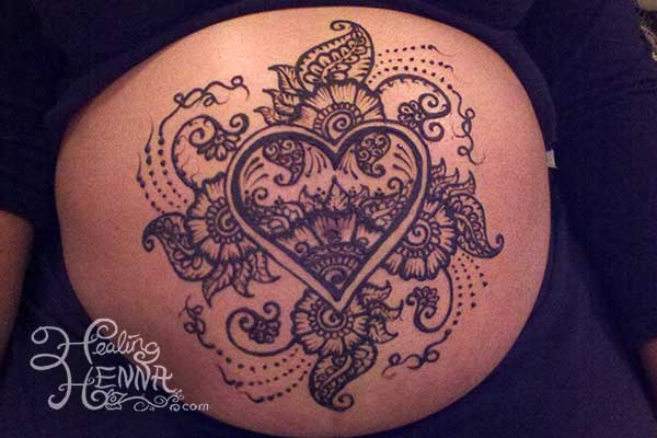Pregnant-Belly-Heart Heart Shaped Mehndi Designs- 20 Simple Henna Heart Designs