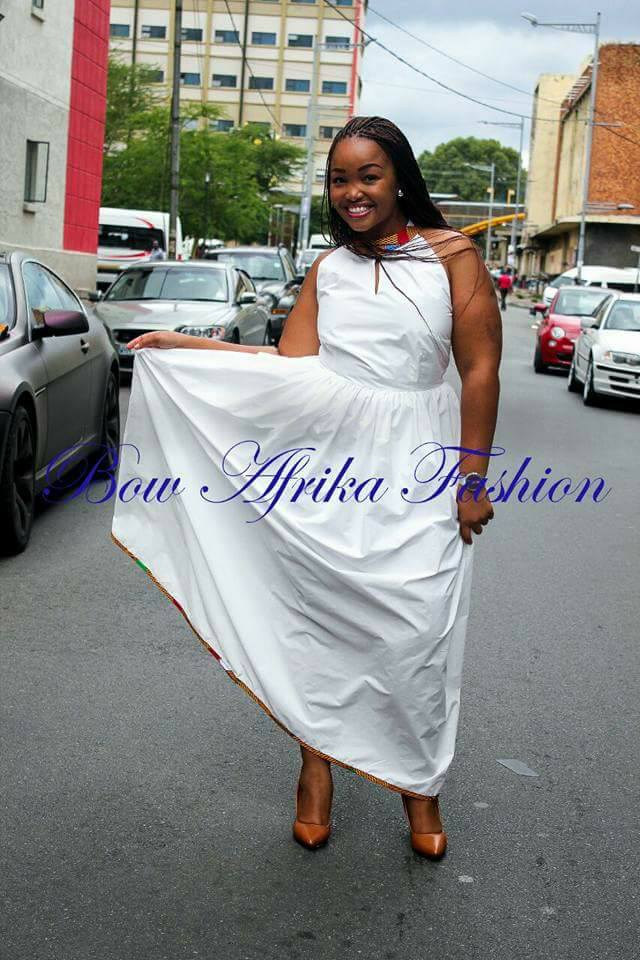 White-Foot-Length-Dress Bow Afrika Clothes- Top 30 Chic Bow Afrika Outfits for Women