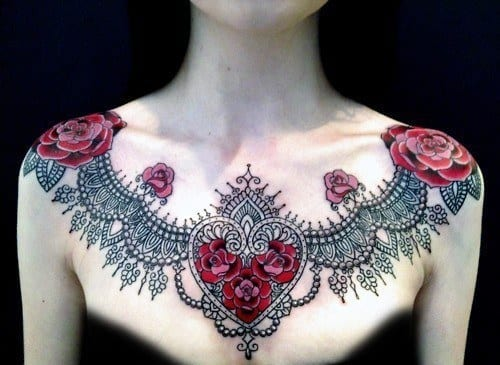 henna-heart-tattoo-design-on-chest Heart Shaped Mehndi Designs- 20 Simple Henna Heart Designs