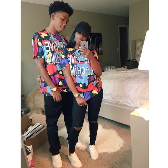 19-matching-tees 13 Cutest Matching Outfits For Black Couples
