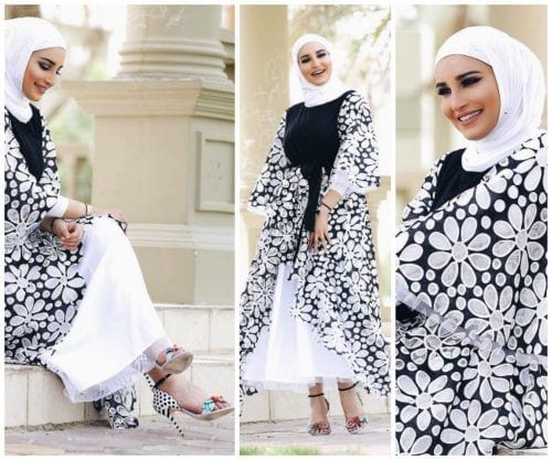 black-and-white-floral-outfit-with-hijab-500x417 Hijab with Floral Outfits-20 Ways to Wear Hijab with Florals